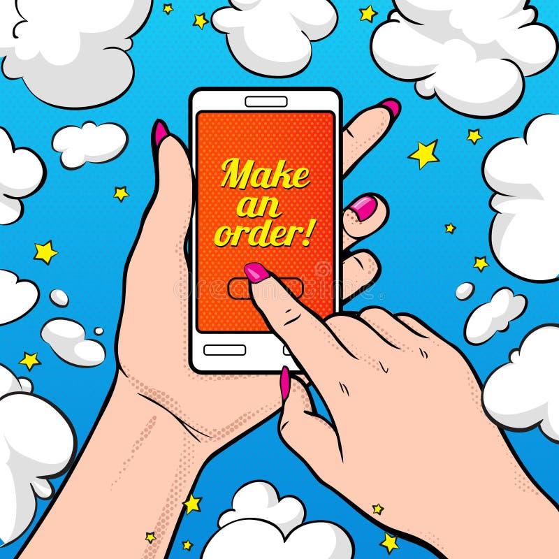Сделайте заказ! Vector иллюстрация при рука ` s молодой женщины держа smartphone иллюстрация вектора