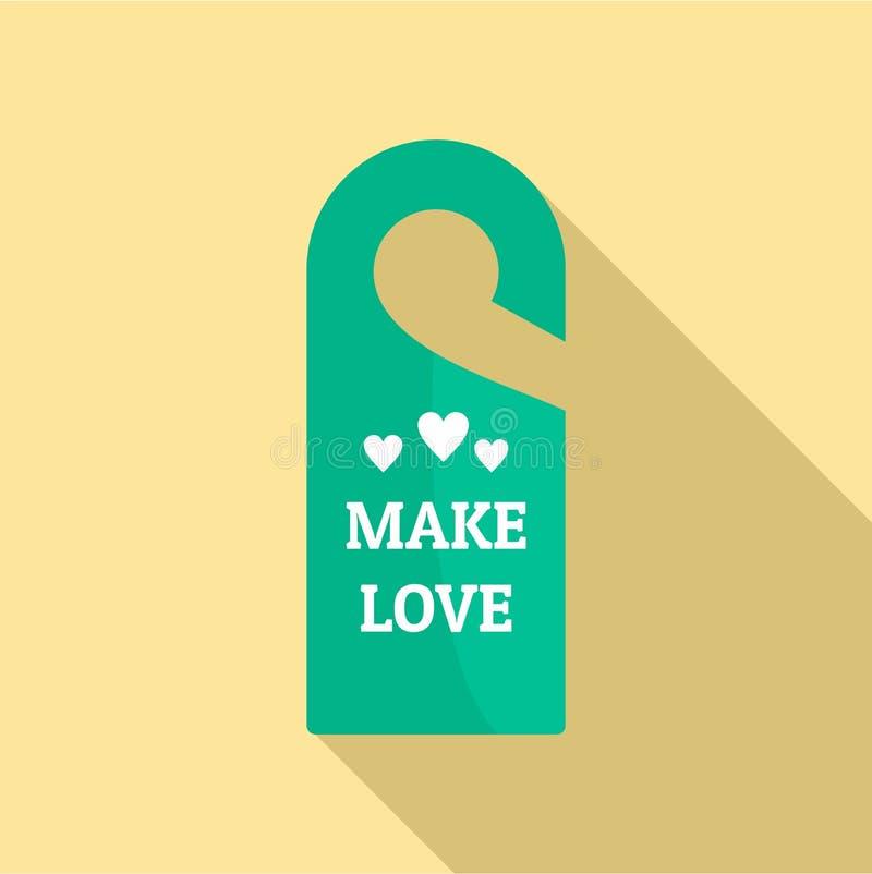 Сделайте значок бирки вешалки влюбленности, плоский стиль иллюстрация штока