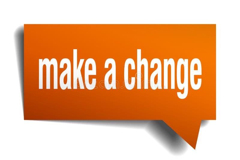 Сделайте изменением оранжевый пузырь речи 3d иллюстрация вектора