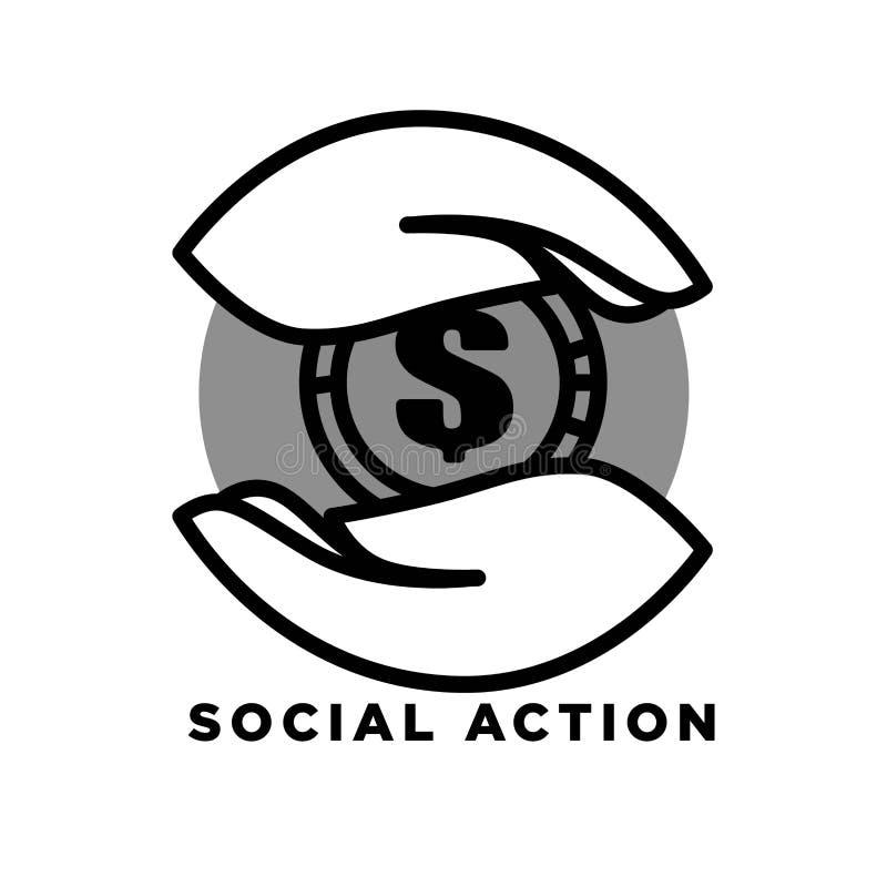 Сделайте пожертвованиями agitative плакат с руками которые держат большую иллюстрацию вектора шаржа золотой монетки изолированную иллюстрация штока