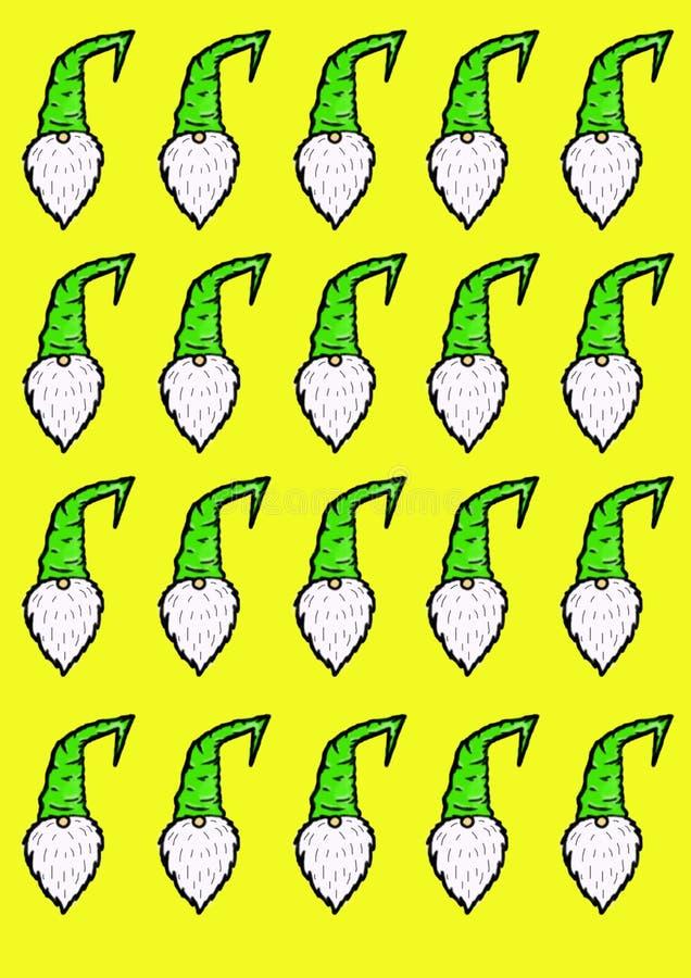 Сделайте по образцу иллюстрацию гномов в зеленых крышках на желтой предпосылке иллюстрация вектора