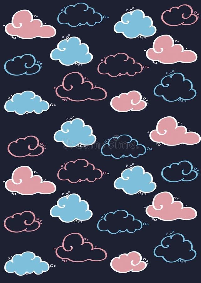 Сделайте по образцу покрашенные облака на голубой предпосылке для детей голубой и розовый бесплатная иллюстрация
