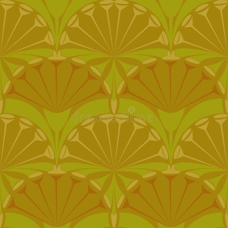 Сделайте по образцу ткань зеленого цвета вектора абстракции овальную коричневую геометрическую иллюстрация вектора