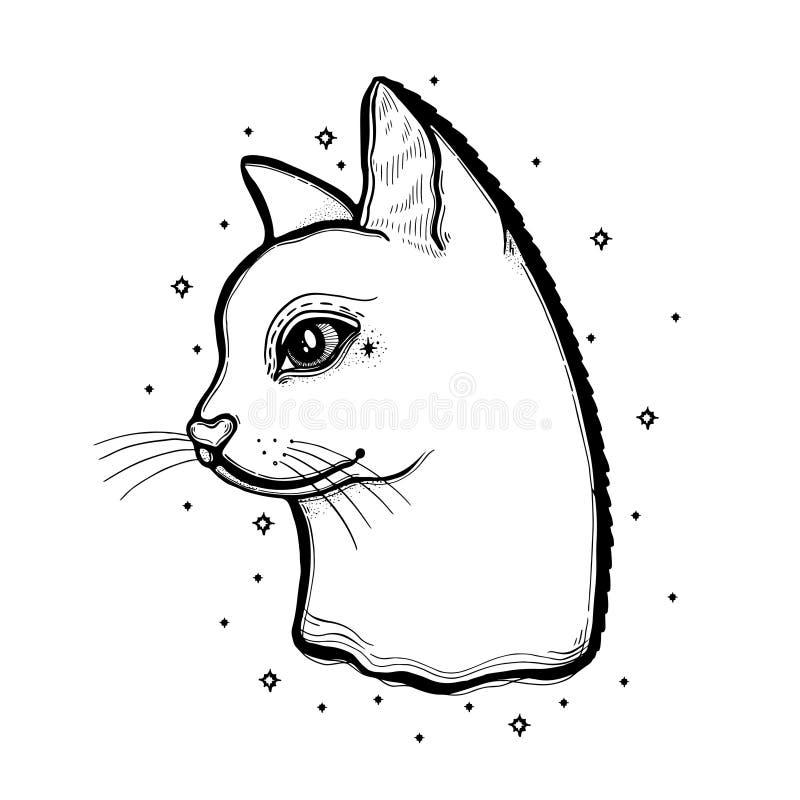 Сделайте эскиз к графическому коту иллюстрации с мистической и оккультной рукой нарисованные символы также вектор иллюстрации при бесплатная иллюстрация