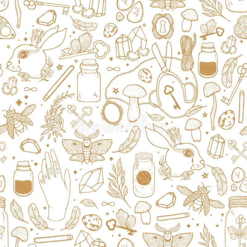 Сделайте эскиз к иллюстрации картины векторной графики безшовной с мистической и оккультной рукой нарисованные символы Волшебная  бесплатная иллюстрация