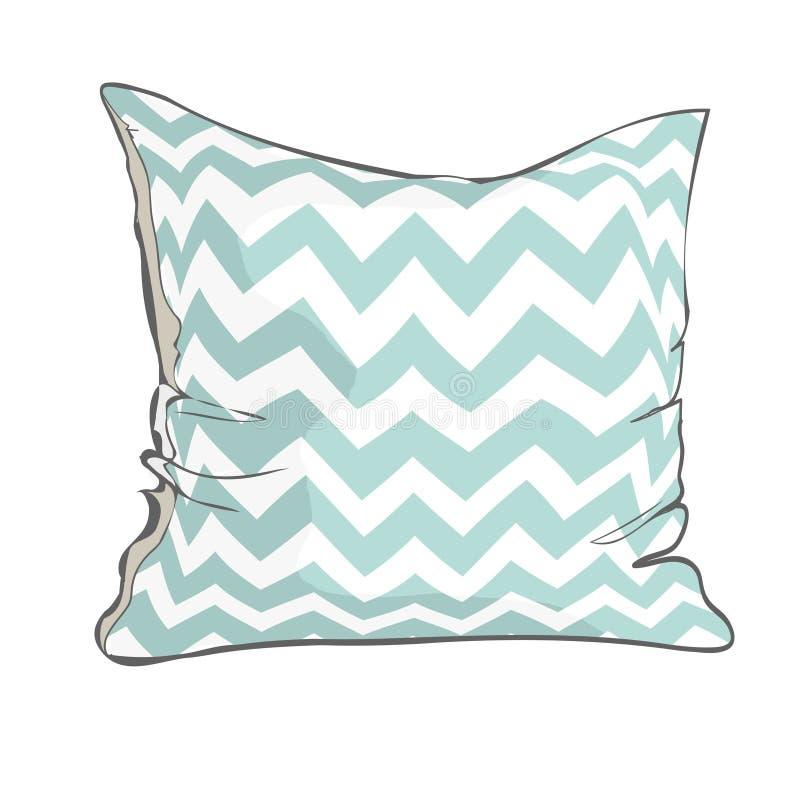 Сделайте эскиз к иллюстрации подушки, искусству вектора, изолированной подушке, белой подушке, подушке кровати бесплатная иллюстрация
