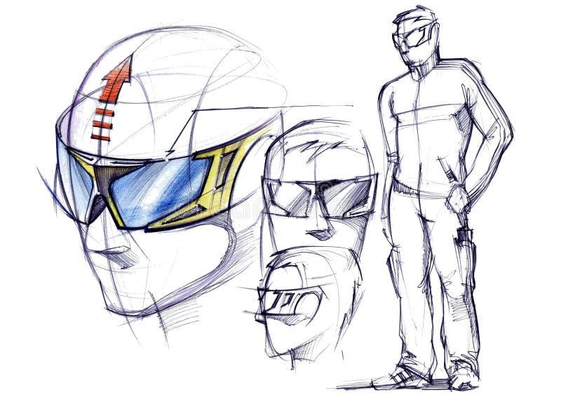 Сделайте эскиз к проекту схематических защитных стекел для активных спорт бесплатная иллюстрация