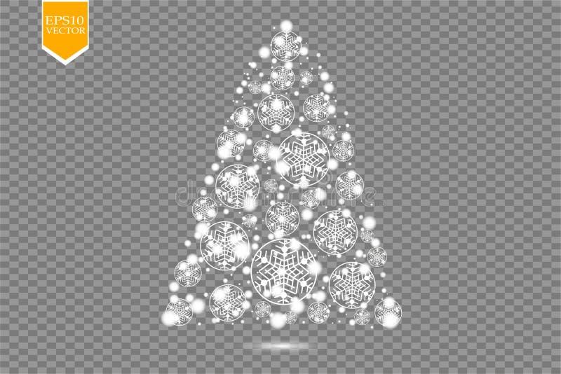 Сделанная рождественская елка, белое bokeh яркого блеска освещает и сверкнает Сияющие звезда, частицы солнца и искры с объективом иллюстрация штока