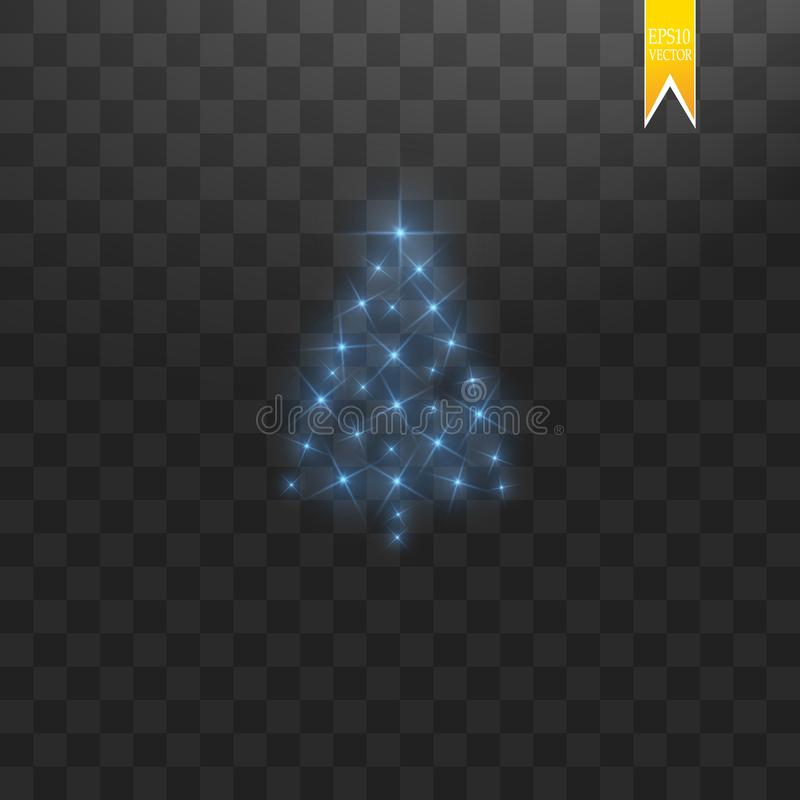 Сделанная рождественская елка Голубое bokeh яркого блеска освещает и сверкнает Сияющие звезда, частицы солнца и искры с объективо иллюстрация вектора