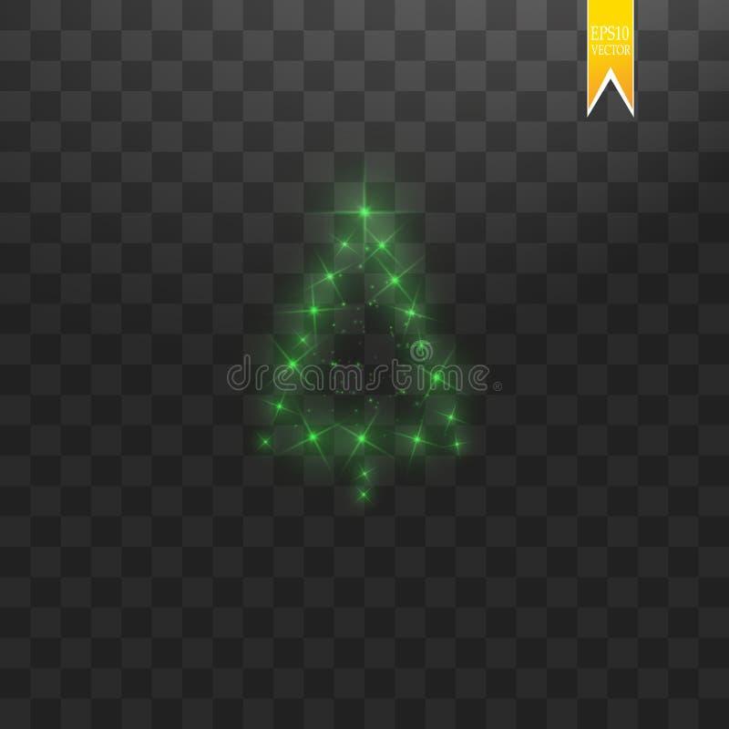 Сделанная рождественская елка Зеленое bokeh яркого блеска освещает и сверкнает Сияющие звезда, частицы солнца и искры с объективо бесплатная иллюстрация