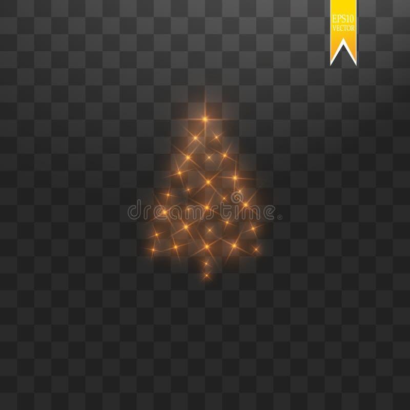 Сделанная рождественская елка Bokeh яркого блеска золота освещает и сверкнает Сияющие звезда, частицы солнца и искры с объективом иллюстрация штока