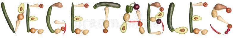 сделанные вне овощи слово иллюстрация штока