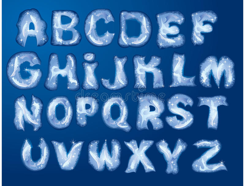 сделанные письма hoarfrost алфавита бесплатная иллюстрация