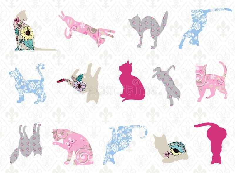 Сделанные по образцу коты в различных представлениях с безшовной картиной иллюстрация вектора