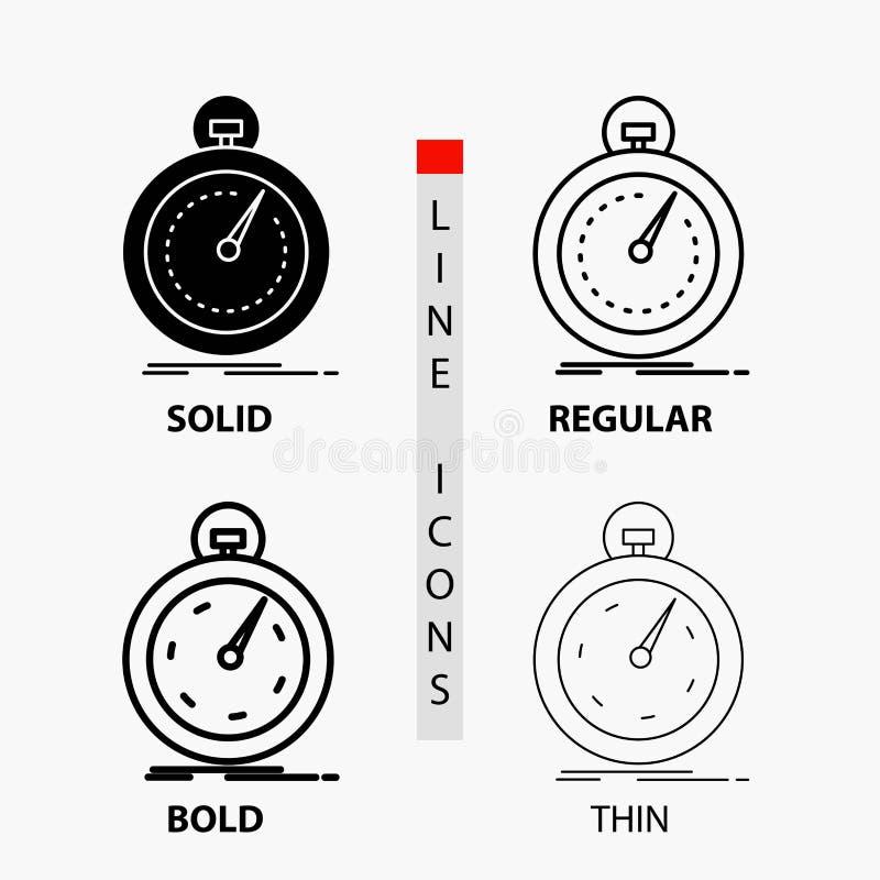 Сделанный, быстрый, оптимизирование, скорость, значок спорта в тонких, регулярных, смелых линии и стиле глифа r иллюстрация вектора