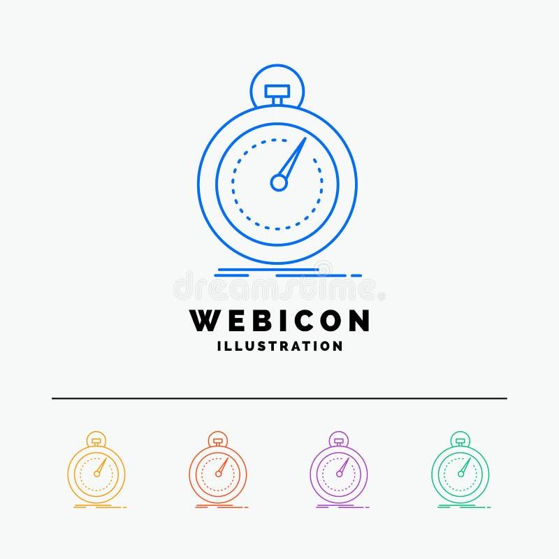 Сделанный, быстрый, оптимизирование, скорость, шаблон значка сети цветного барьера спорта 5 изолированный на белизне r иллюстрация штока
