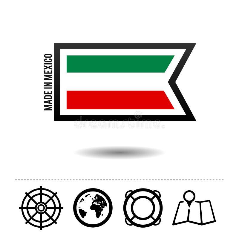 Сделанный в мексиканськом флаге с значками перемещения Вектор Eps10 бесплатная иллюстрация