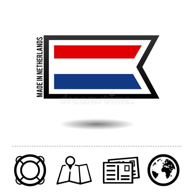 Сделанный в нидерландском флаге с значками перемещения Вектор Eps10 иллюстрация штока