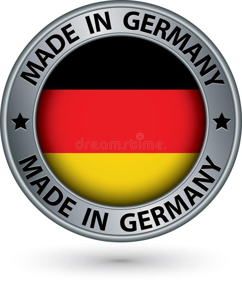 Сделанный в ярлыке серебра Германии с флагом, иллюстрация вектора иллюстрация вектора