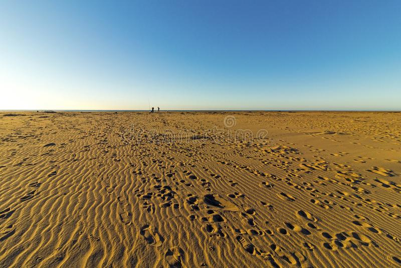 Сделанный по образцу песок пляжа с ландшафтом голубого неба следов ноги прибрежным стоковое изображение