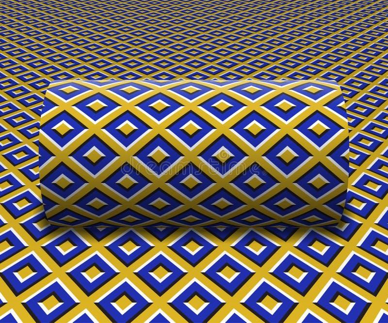 Сделанный по образцу цилиндр свертывает вдоль склонной поверхности Абстрактная иллюстрация обмана зрения вектора иллюстрация вектора