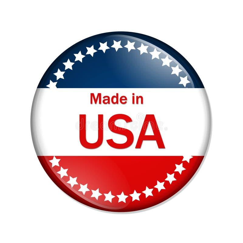 Сделано в кнопке США иллюстрация вектора