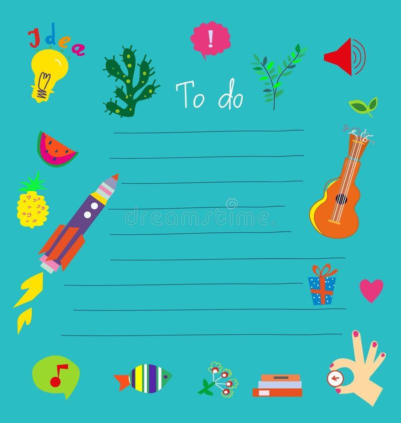 Сделать список - смешной дизайн для детей r иллюстрация штока
