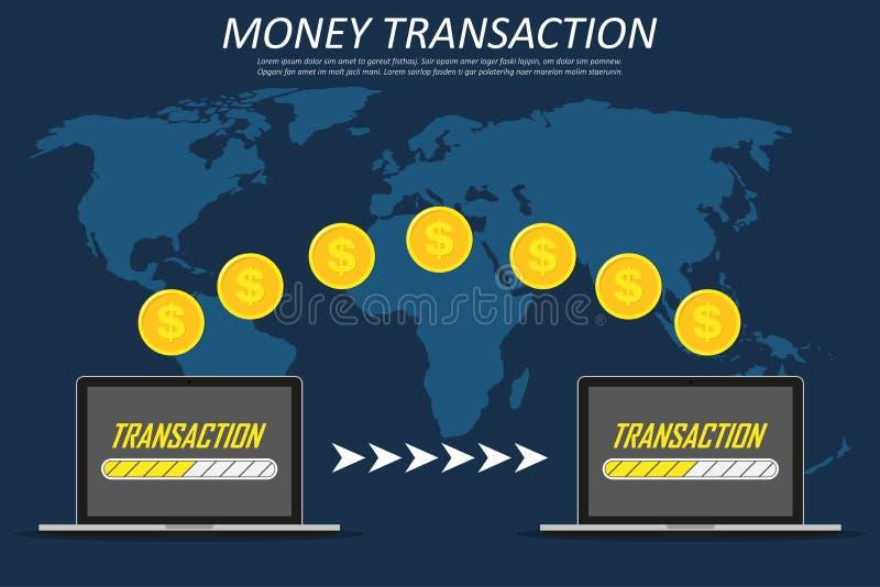 Сделка денег вокруг мира, дела, передвижного банка и передвижной оплаты 2 компьтер-книжки на карте мира иллюстрация штока