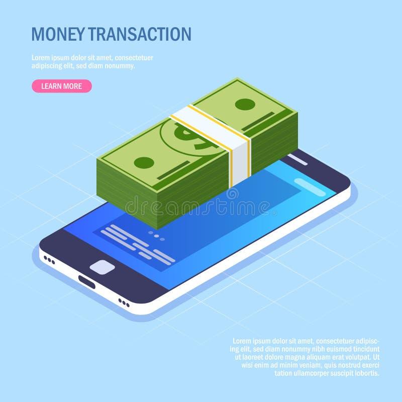 Сделка денег через мобильный телефон стог денег на экране прибора Бумажные деньги Иллюстрация вектора равновеликая внутри иллюстрация вектора
