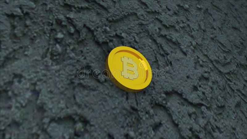 Сдержанная монетка на конкретной поверхности, ем символ электронных виртуальных денег и минируя концепции cryptocurrency, 3d пред бесплатная иллюстрация
