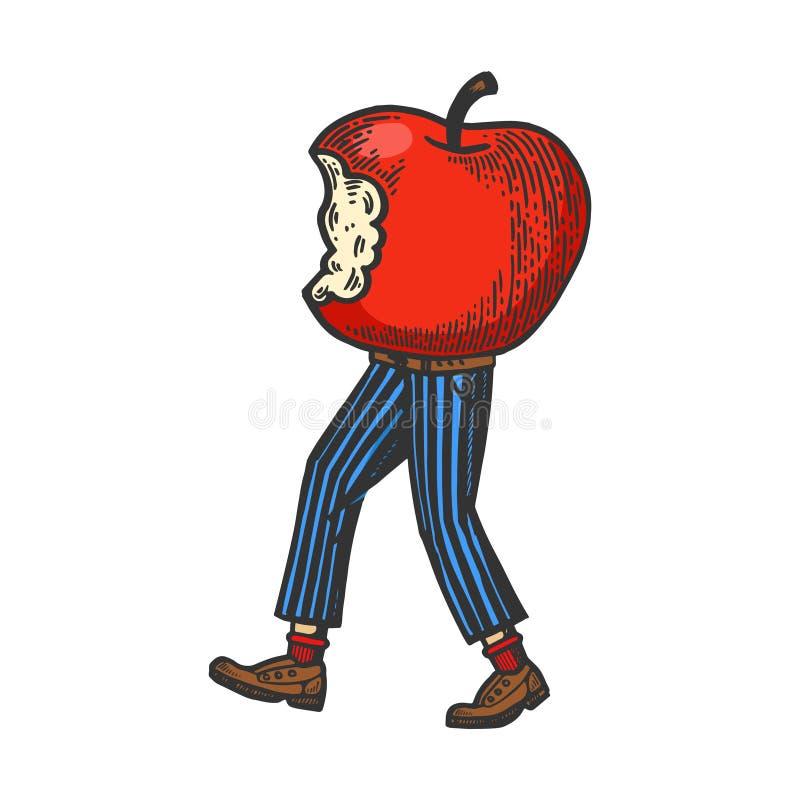 Сдержанное яблоко идет на свой эскиз цвета ног бесплатная иллюстрация