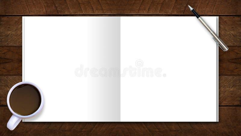 Сдирать космос положения на космосе зоны стола впишите текст кофейные чашки модель-макета, бумага примечания ручки помещенная на  стоковое фото