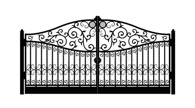 Сдобренные ворота металла с выкованными орнаментами на белой предпосылке Красивые ворота орнамента утюга o иллюстрация вектора