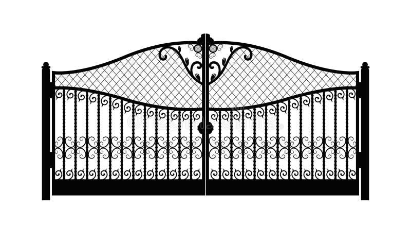 Сдобренные ворота металла с выкованными орнаментами на белой предпосылке Красивые ворота орнамента утюга r бесплатная иллюстрация