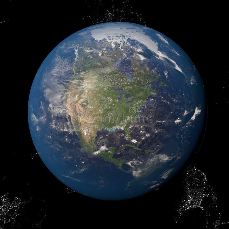 Северная Америка Канада США от космоса иллюстрация вектора