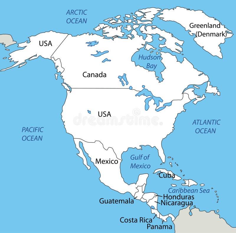 Северная Америка - карта иллюстрация вектора