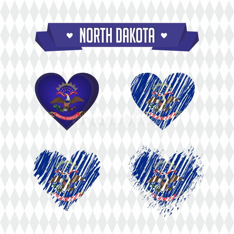 Северная влюбленность Dakotawith Разбитый сердце вектора дизайна с флагом внутрь иллюстрация штока