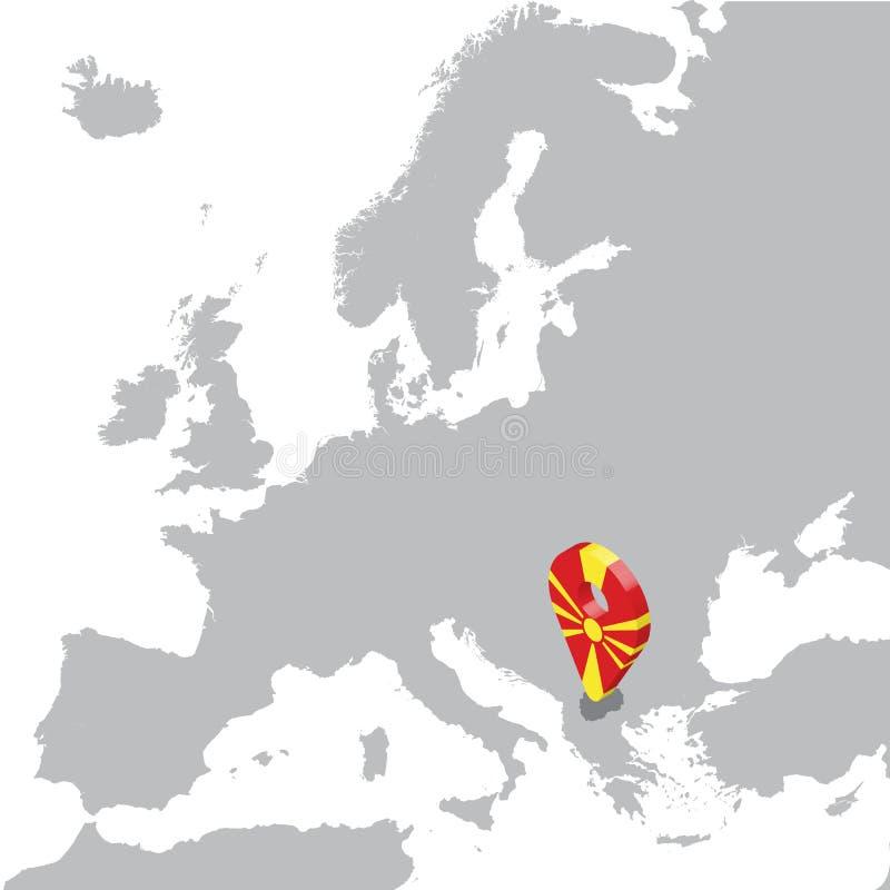 Северная карта положения Македонии на карте Европе северный штырь положения отметки карты флага Македонии 3d Высококачественная к иллюстрация вектора
