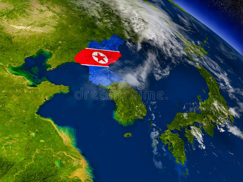 Download Северная Корея с врезанным флагом на земле Иллюстрация штока - иллюстрации насчитывающей космос, зона: 81808888