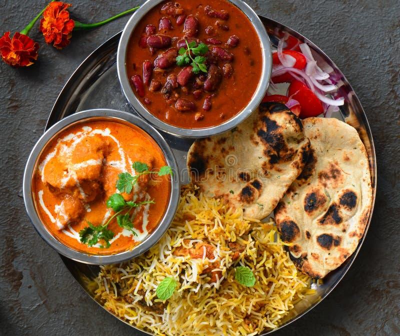 Северное индийское thali ед-панджабца партии не вегетарианское стоковое фото