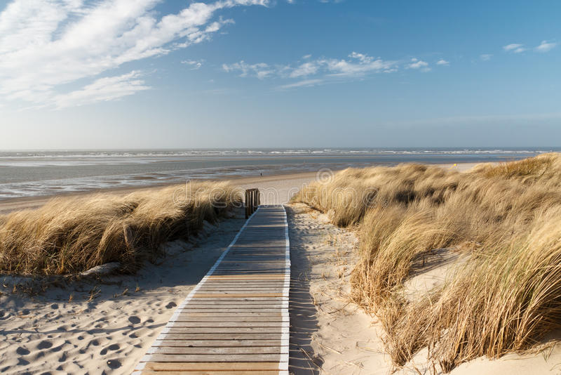 Северное море langeoog пляжа стоковая фотография