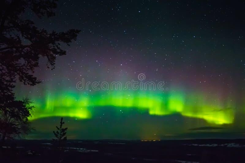 Северное сияние в Финляндии, Лапландии стоковая фотография rf