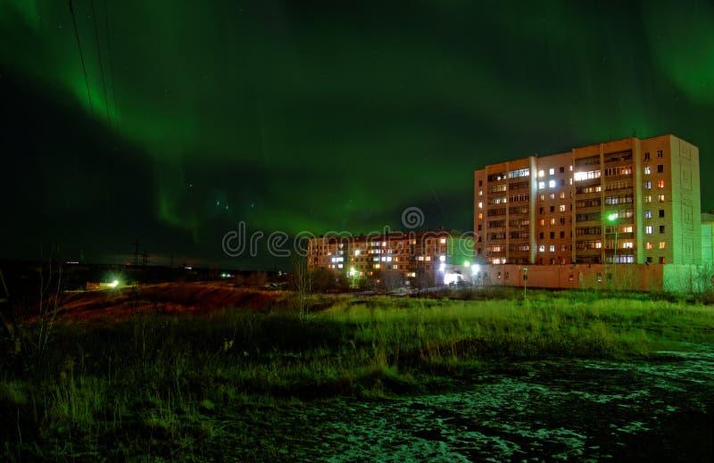 Северное сияние в Artic Vorkuta стоковое изображение rf