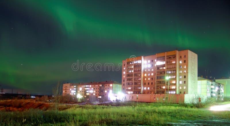 Северное сияние в Artic Vorkuta стоковая фотография