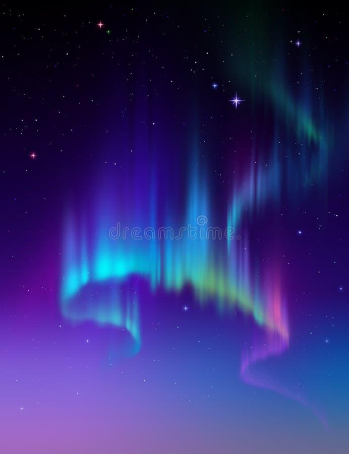Северное сияние, иллюстрация предпосылки ночного неба конспекта приполюсная иллюстрация штока