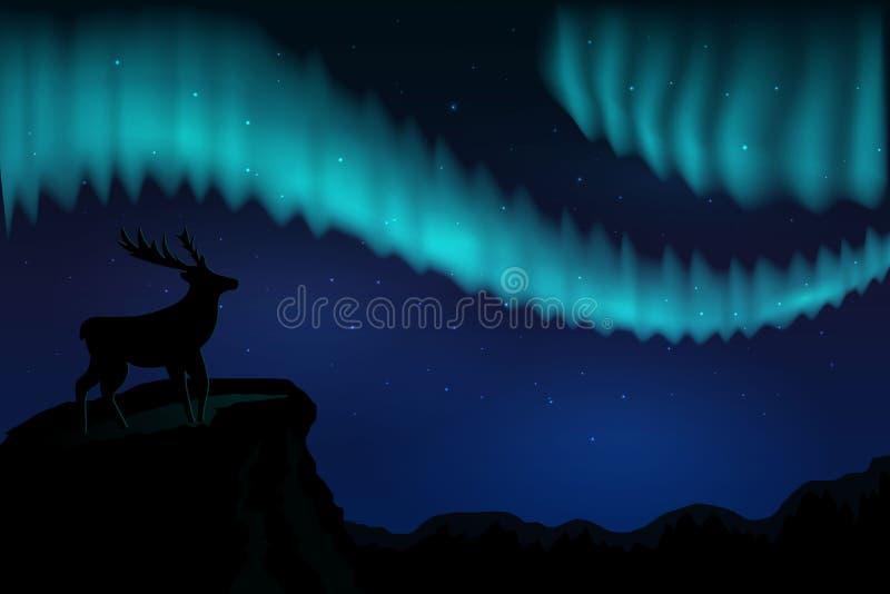 Северное сияние ландшафтов в звездном небе и с силуэтом оленей на горах r иллюстрация вектора
