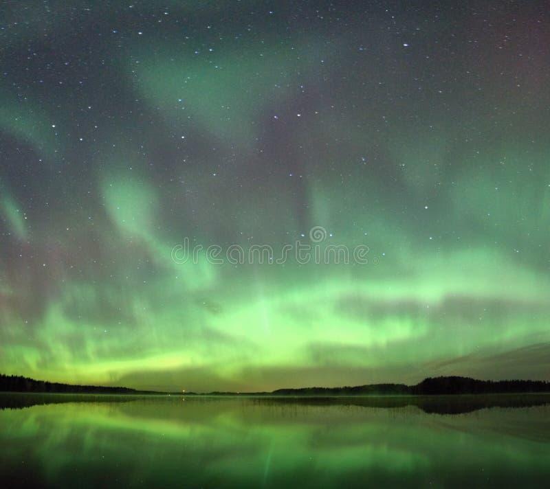 Северное сияние на ноче стоковое изображение