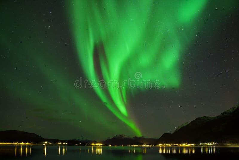 Северное сияние на островах Lofoten, Reine Норвегия Зеленое северное сияние над горами Ночное небо с приполюсным небом стоковое фото rf