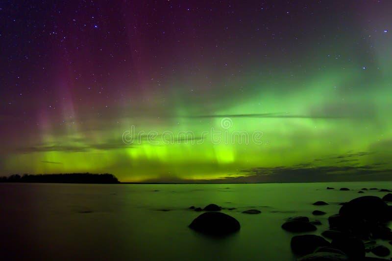 Северное сияние 03 11 15, Lake Ladoga, Россия стоковые фотографии rf