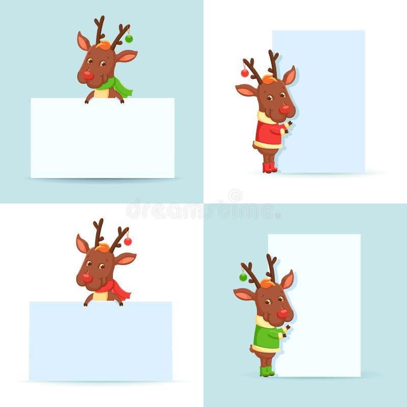 Северные олени рождества с плакатами бесплатная иллюстрация